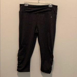 Dark gray leggings with blue inside waistband